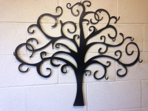custom laser cut art work powder coated black