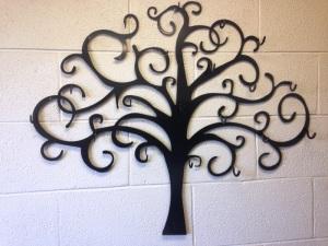 custom laser cut art work powder coated black